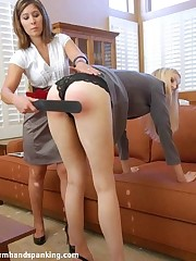 Caroline Harper complains of being spanked, coupled with gets strapped by Alison Miller