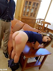 75 bare alongside a strap for Corinne, legs pendent free on a self-assertive kitchenette counter