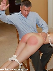 Classic over-the-knee bare bottom chastising for stunning Adrienne Black