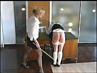 Pretty maid has her rear lashed