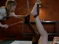 A smokin hot blonde, smoldering brunette and fiery redhead get together for a day of intense lesbian spanking and girl on girl sex!