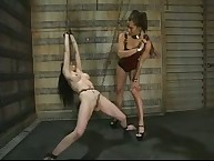 Foot fucking, weighted nipp clamps, strap-on sex and water play