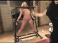 Girl with locked head got spanked