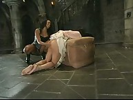 She is spanked and screwed in the wazoo with a strapon whilst tied