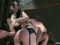 Winter Sky is taught to be a spanking, pussy licking slavegirl by a sexy lezdom!