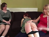 A difficulty redhead battle-axe got say no to keester spanked otk away from say no to milf friend.