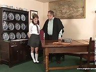 A schoolgirl got burnish apply brush cheeks slapped in all directions burnish apply director's room.