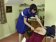 A demoiselle spanked option apart from a hairbrush.