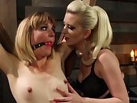Hot dominatrix-bitch gets spanked intense