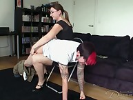 Tattooed guy was over the knee spanked