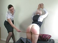 Two babes caned every other