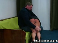 Huge man spanked woman hard