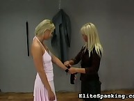 Painful whipping for cute blonde
