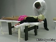 Young girl getting experimental strapping