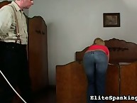 Blonde pink hottie was caned
