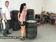 Hard ass whipping in garage