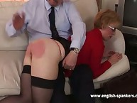 Sexy mum in nylon was spanked OTK