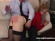 Sexy mum in nylon was spanked OTK
