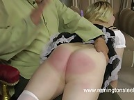 Bad mood blonde spanked