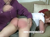 Perverted spanking of blond teen