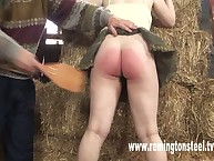 Farm slut was paddled hard