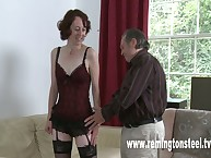 Mature brunette in stockings spanked