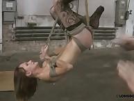 Extreme bondage for whipping bitch