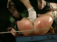 Slave Amy was fingered and caned
