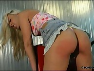 Blonde's arse getting harsh whipping