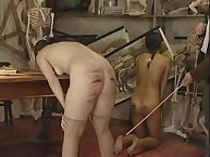 Naughty beauty disrobes and acquires Brutal Caning