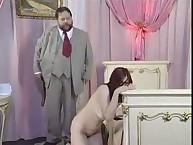 Pretty lady was spanked