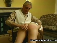 The girl was otk spanked by stepfather