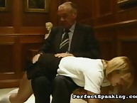 Angry boss spanked naughty secretary