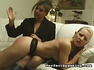 Female tutor practice OTK spanking
