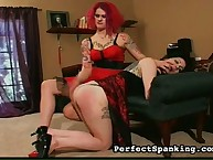 Tattooed lesbians practicing ass spanking