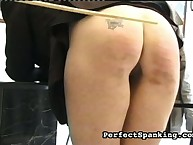Naughty tattooed ass got caned