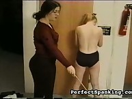Strict female-dominant disciplining idle schoolgirl