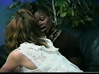 Lesbians practicing interracial OTK spanking