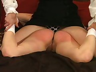 Strict brunette spanked redhead bitch