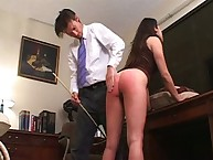 Ass thrashing experiment with brunette