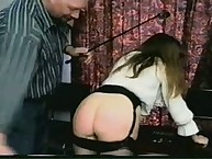 Daddy punishes two babes