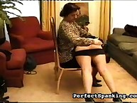 Mature lesbian OTK spanking blonde