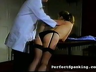 Blond dame caned by doctor