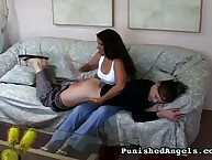 The girl is dressed to be spanked