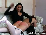 Salacious fille gets brutal spanks on her posterior