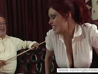 Curvy redhead was flogged