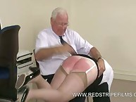 Old Office floozy Punished with Brutal Hand Spanking