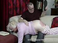 Chubby old bitch OTK spanked
