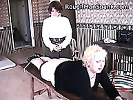 Rough Man Spank. Plump blonde gets spanked