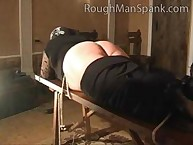 Big Beautiful Bitch Tied to Bench for Punishment